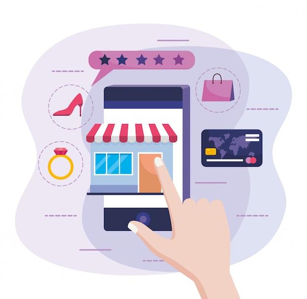 Mão com smartphone e venda no mercado on-line com cartão de crédito