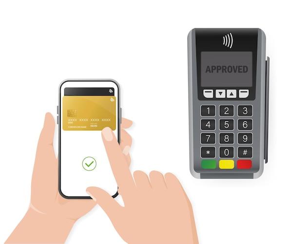 Mão com smartphone. pagamento online abstrato para design de dispositivo móvel. transação online.