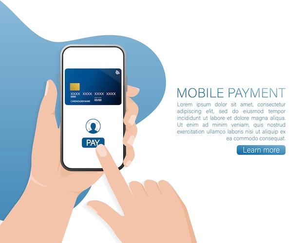Mão com smartphone. pagamento online abstrato para dispositivo móvel. transação online.