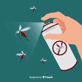 Mão com spray de mosquito