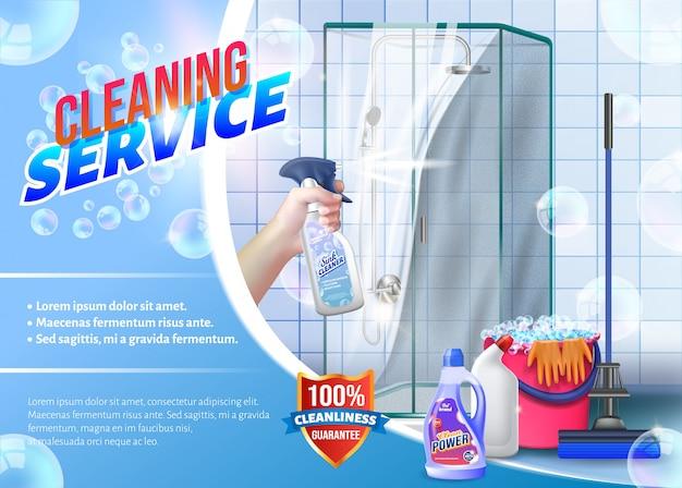 Mão com spray de vidro na mão no chuveiro