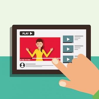 Mão com tablet mulher na tela video blogger