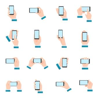 Mão, com, telefone, ícones
