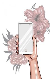 Mão com telefone vazio e flor