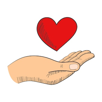 Mão, com, um, coração forma, símbolo