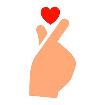 Mão com um novo ícone de coração, silhueta de dois tons,