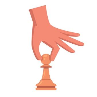 Mão com um peão. faça um movimento no tabuleiro de xadrez. ilustração vetorial plana.
