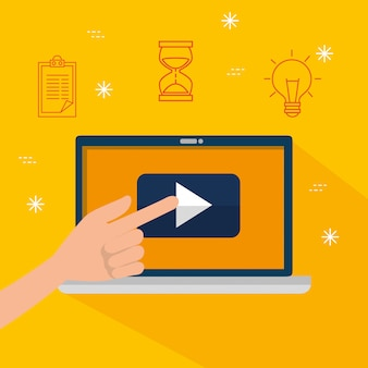 Mão com vídeo de informações do site laptop