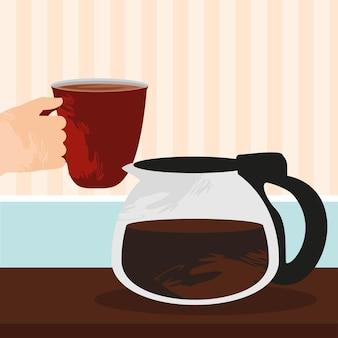 Mão com xícara e cafeteira