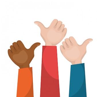 Mão como trabalho em equipe multicultural