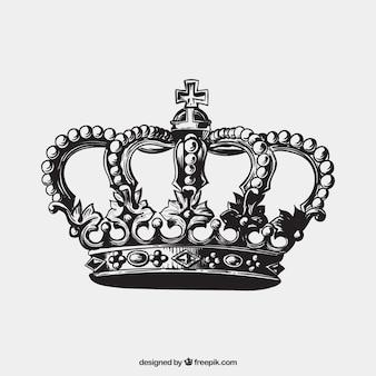 Mão coroa antiga desenhada