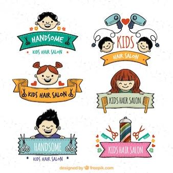 Mão crianças desenhadas logos cabeleireiro