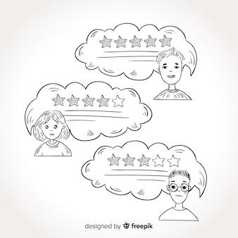 Mão criativa desenhada depoimento de bolha do discurso