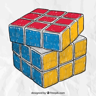 Mão cubo rubik desenhada