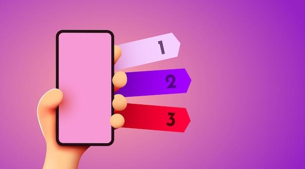 Mão d fofa segurando maquete de smartphone com conceito de informação móvel de três opções