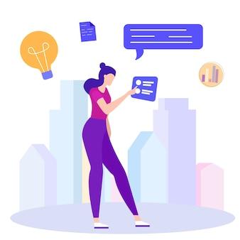 Mão da mostra da mulher no ícone eletrônico. ideia de negócio.