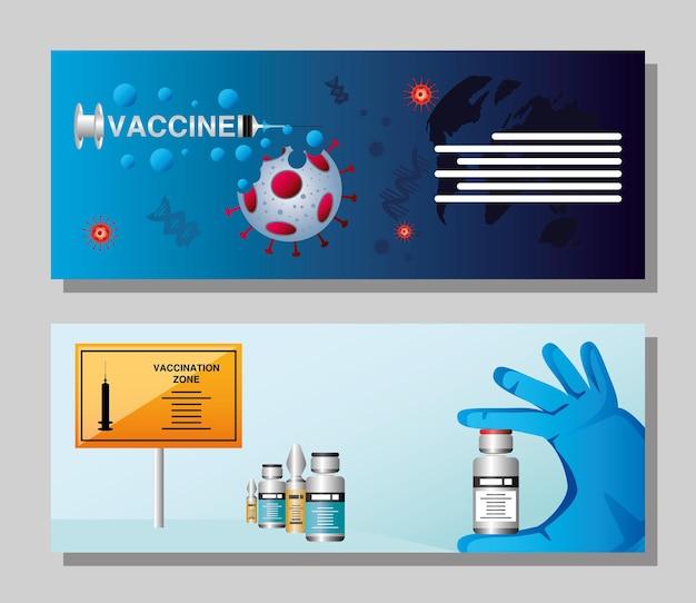 Mão da zona de vacinação contra o coronavírus da vacina mundial com ilustração da ampola