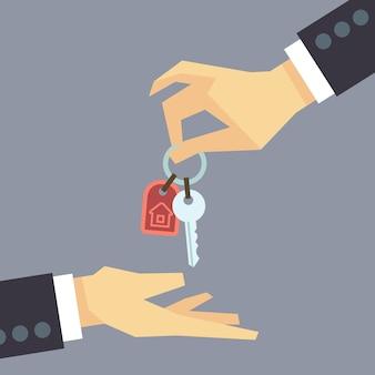 Mão dando as chaves da casa. imobiliário, comprando o conceito de casa. venda casa ilustração