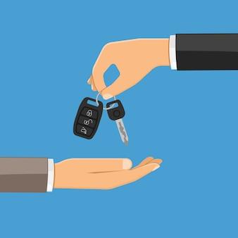 Mão dando as chaves do carro
