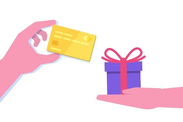 Mão dando cartão de crédito e mão com presente em design plano