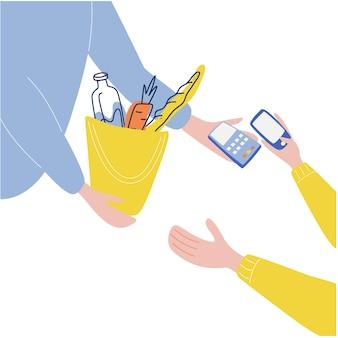 Mão dando ordem ao cliente mão segurando cartão de débito ou crédito sistema de pagamento sem contato