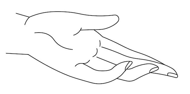 Mão dando ou pegando, linha arte de palma e dedos