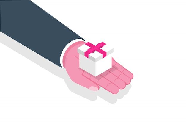 Mão dar giftbox, presente com fita vermelha. ilustração.
