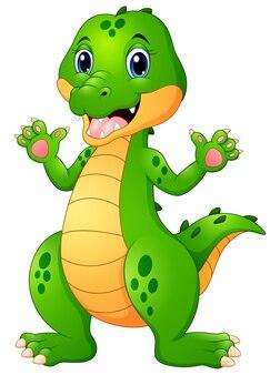 Mão de acenar engraçado dos desenhos animados de crocodilo