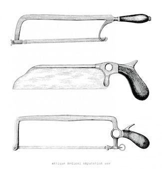 Mão de amputação médica antiga viu desenho estilo vintage