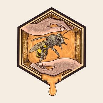 Mão de apicultor desenho ilustração vintage