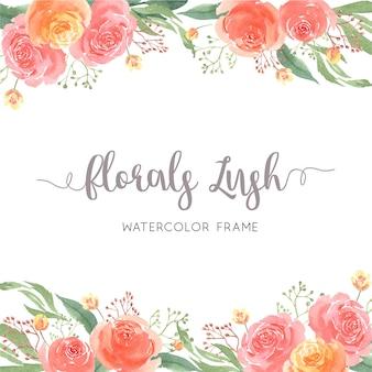 Mão de aquarela pintada com borda de quadro de texto