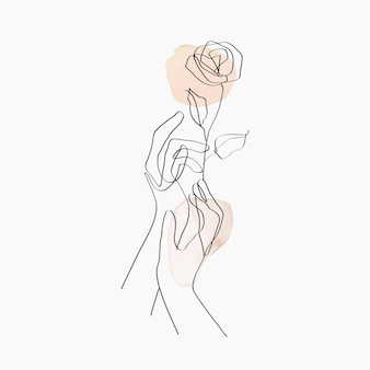 Mão de arte de linha mínima com ilustração estética floral bege pastel