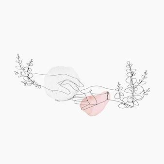 Mão de arte de linha mínima com ilustração estética floral rosa pastel