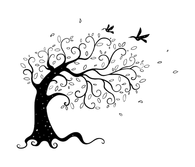Mão de árvore desenhada
