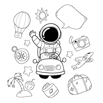 Mão de astronauta de férias desenhada e elementos de viagem