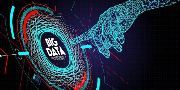 Mão de baixo polígono tocando tecnologia avançada de dados grande e visualização com elemento fractal com matriz de linhas e pontos.