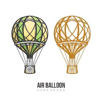 Mão de balão de ar desenhada