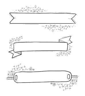 Mão de bandeira floral desenhada