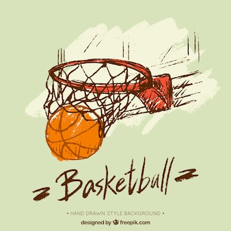 Mão de basquete fundo desenhado da cesta