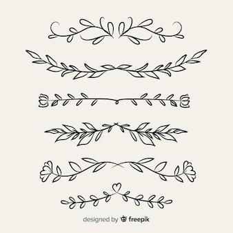 Mão de borda ornamental desenhada