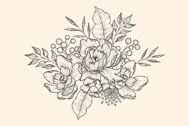 Mão de buquê de flores retrô realista desenhada