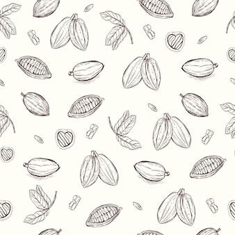 Mão de cacau e chocolate desenhando papel de parede de vetor de fundo padrão sem emenda