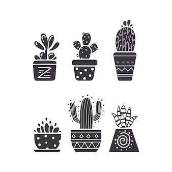 Mão de cacto desenhar ícones em fundo branco. conjunto de plantas caseiras cactos e suculentas.