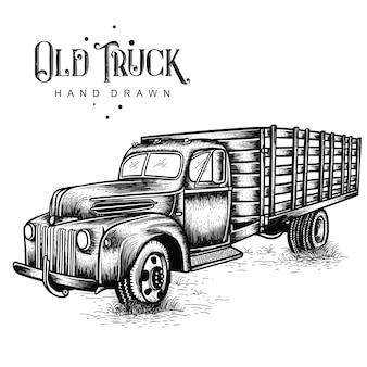 Mão de caminhão de fazenda desenhada