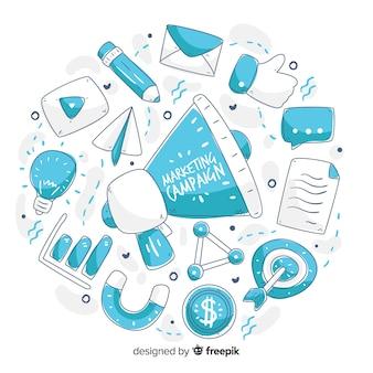 Mão de campanha de marketing desenhado fundo