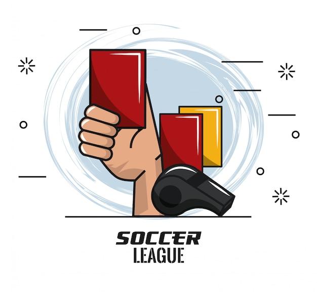 Mão de cartão vermelho de árbitro com apito