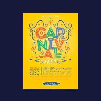 Mão de cartaz colorido carnaval desenhado