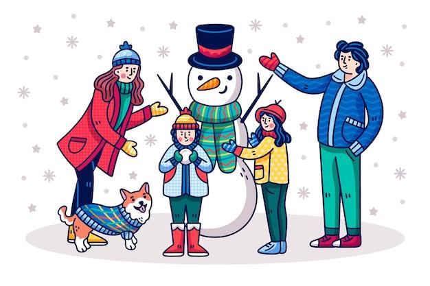Mão de cena familiar de natal desenhada
