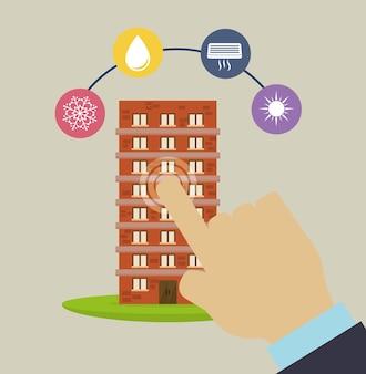 Mão de cidade inteligente edifício conjunto de ícones de app
