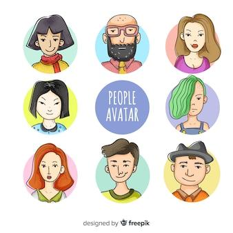 Mão de coleção de avatar de pessoas desenhada
